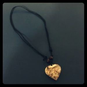 Brown/Ivory Swirl Heart Pendant Necklace